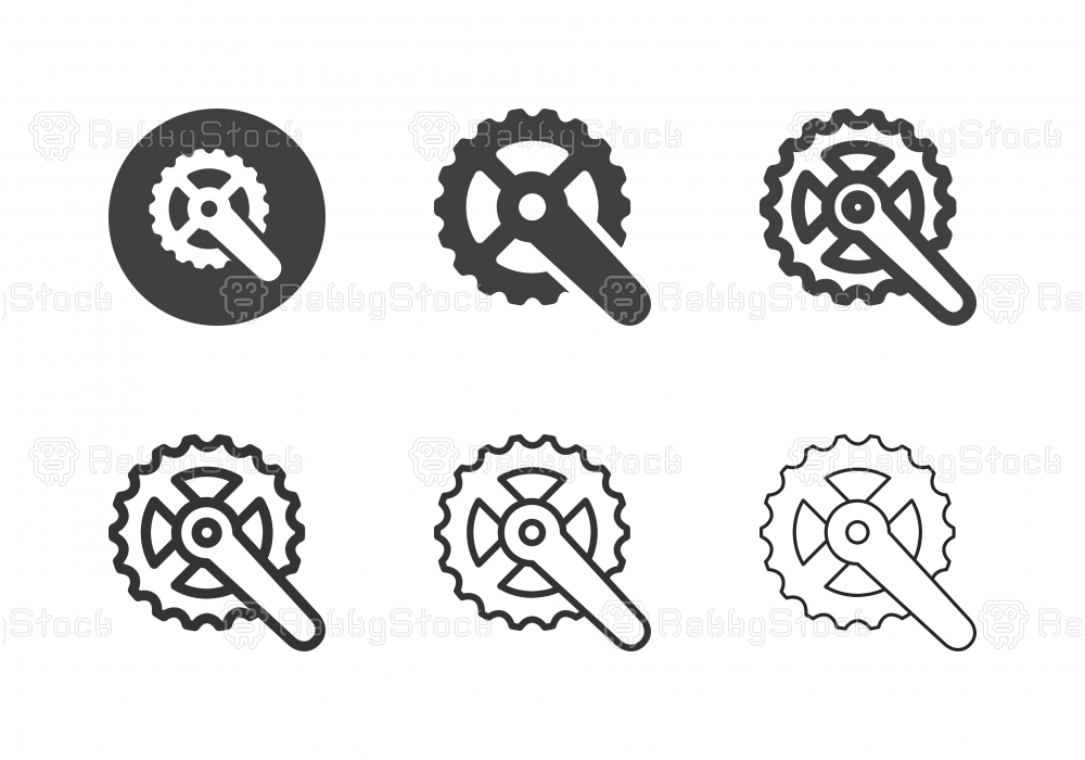 Bicycle Crankset Icons - Multi Series