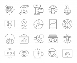 Business Strategy - Thin Line Icons