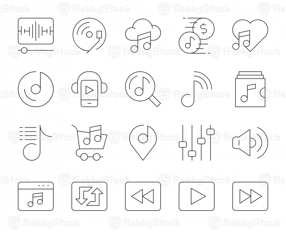 Music Streaming Store - Thin Line Icons