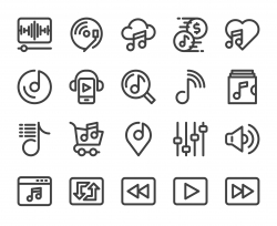 Music Streaming Store - Bold Line Icons