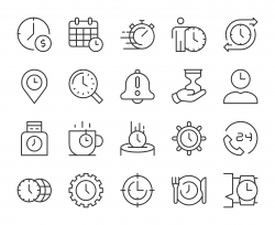Time Management - Light Line Icons