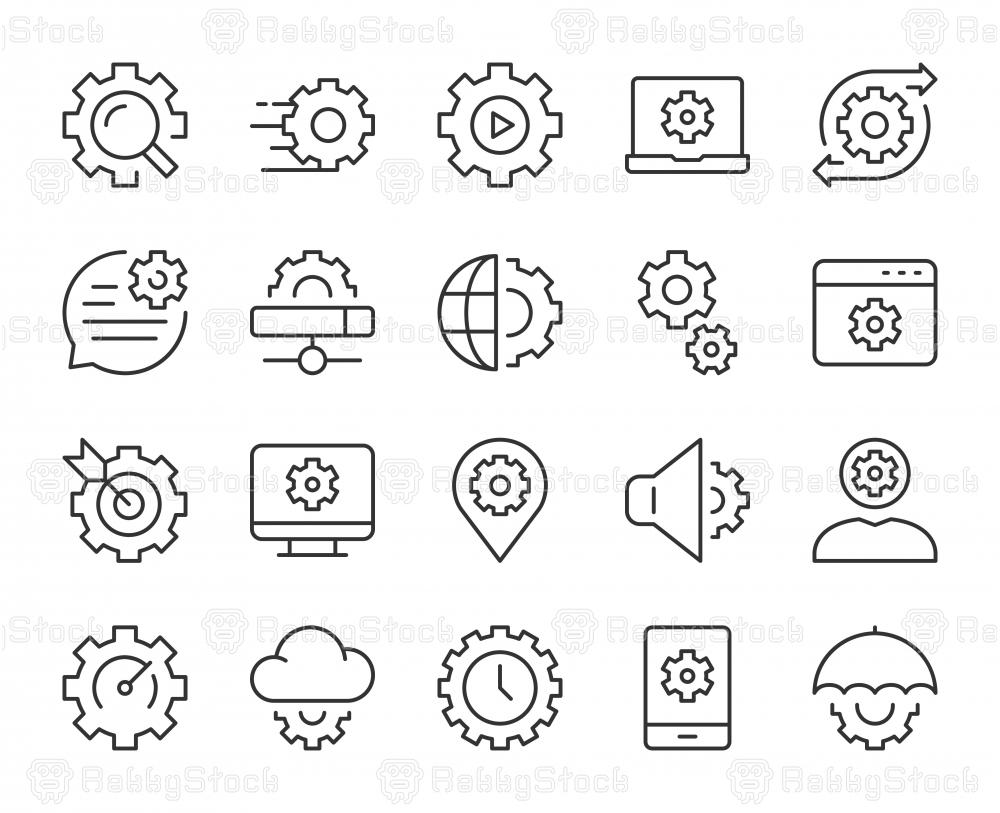 Gear Element - Light Line Icons