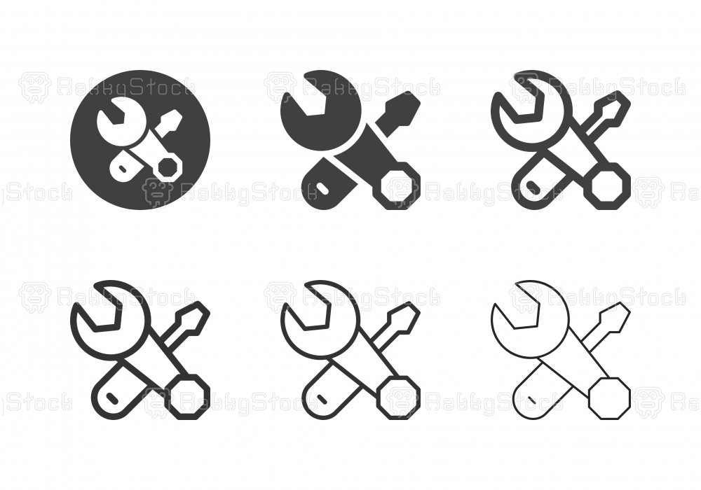 Wrench and Screwdriver Icons - Multi Series
