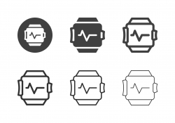 Smart Watch with Heart Rate Icons - Multi Series