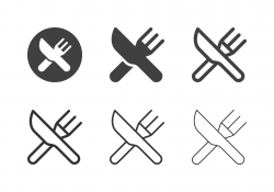 Table Knife and Fork Icons - Multi Series