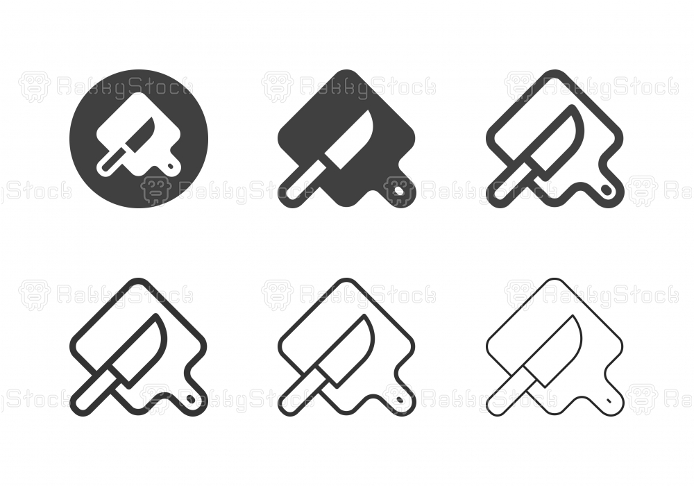 Knife and Cutting Board Icons - Multi Series