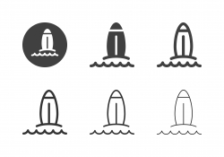 Surfboard on The Beach Icons - Multi Series