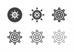 Boat Steering Wheel Icons - Multi Series
