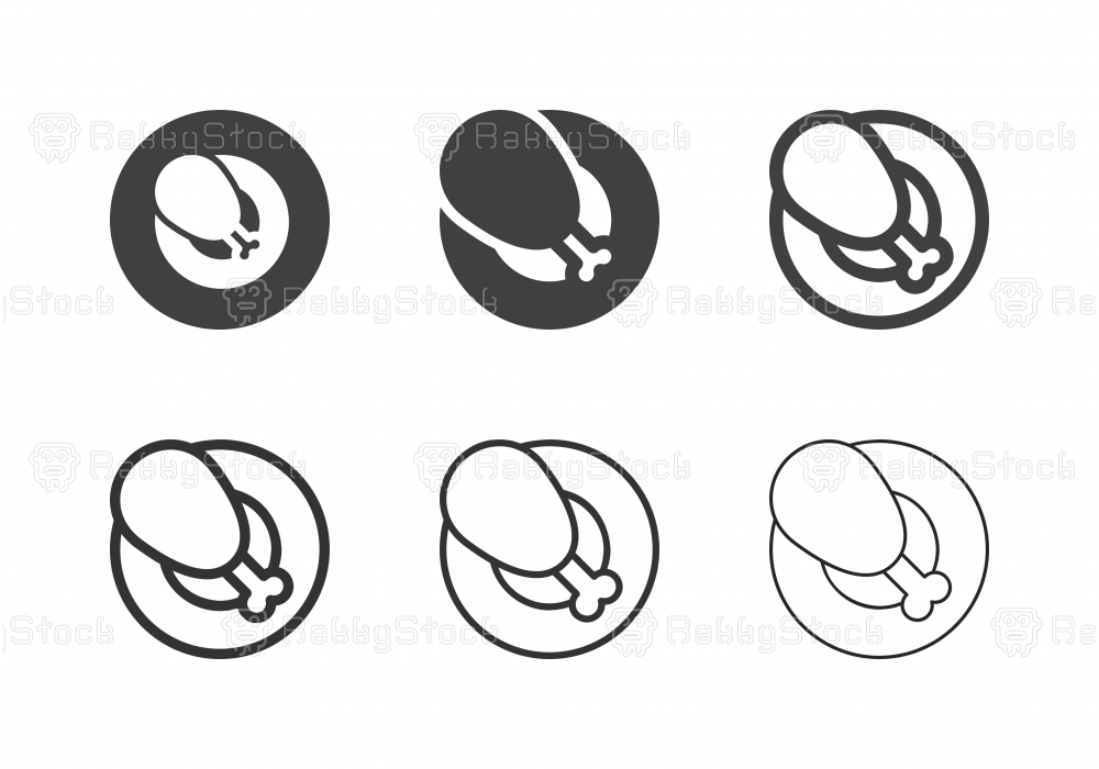 Fried Chicken Leg Icons - Multi Series
