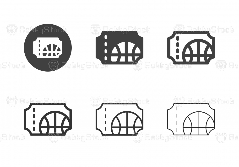 Basketball Ticket Icons - Multi Series