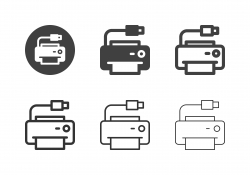 USB Printer Icons - Multi Series