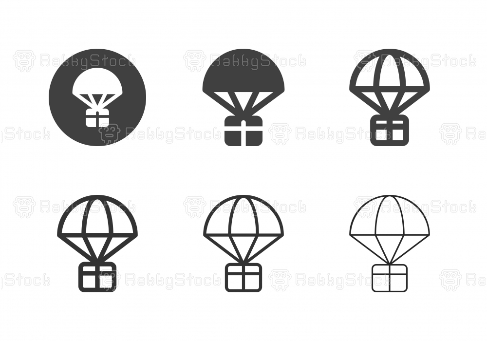 Parachute Airdrop Box Icons - Multi Series