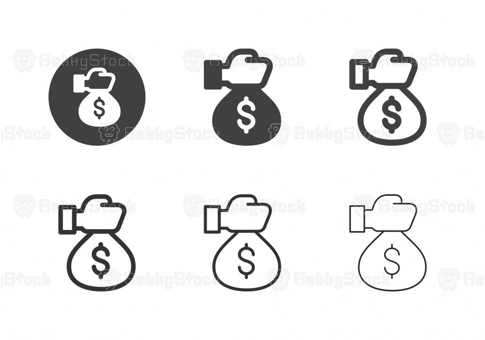 Hand Holding Money Bag Icons - Multi Series