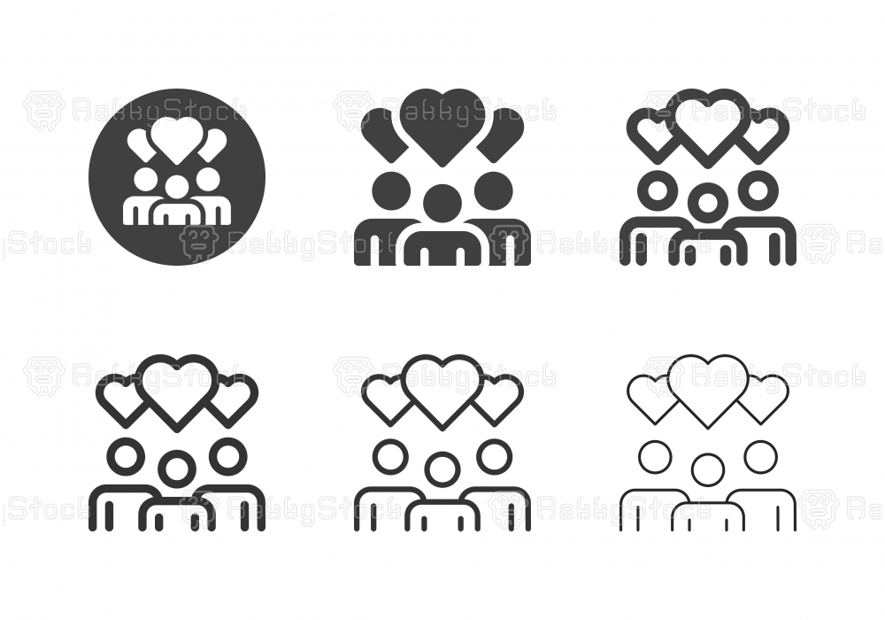 People with Heart Bubble Icons - Multi Series