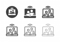 Video Conference on Laptop Icons - Multi Series