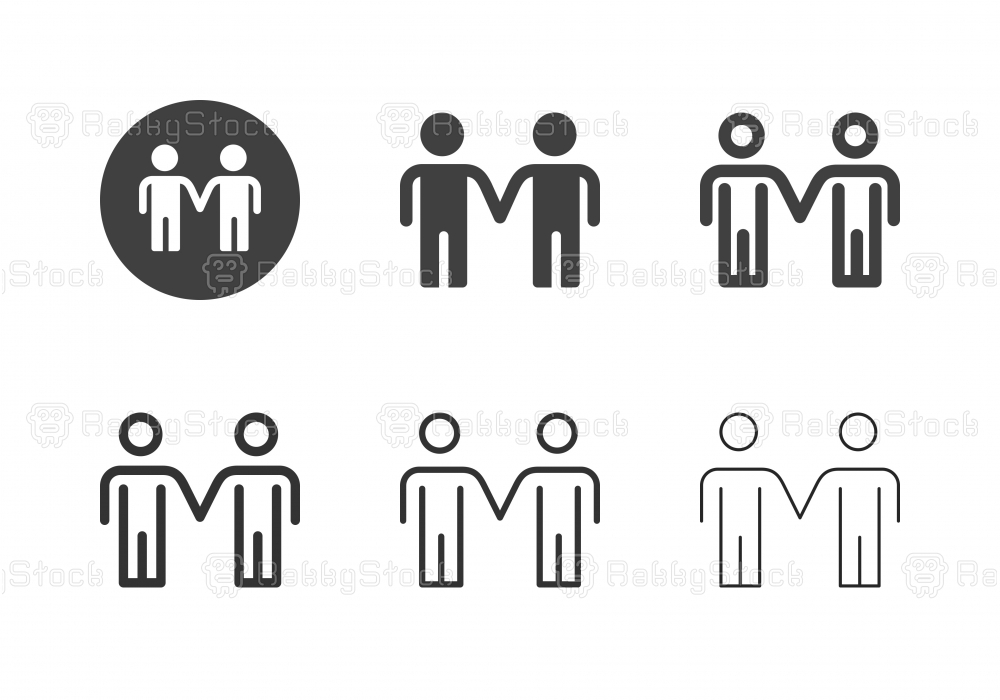 Two Man Standing Icons - Multi Series