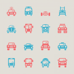 Car Collection Icons - Color Series | EPS10
