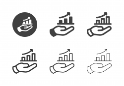 Hand Holding Bar Graph Icons - Multi Series