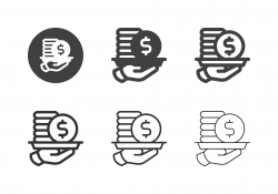 Hand Holding Coin Stack Icons - Multi Series