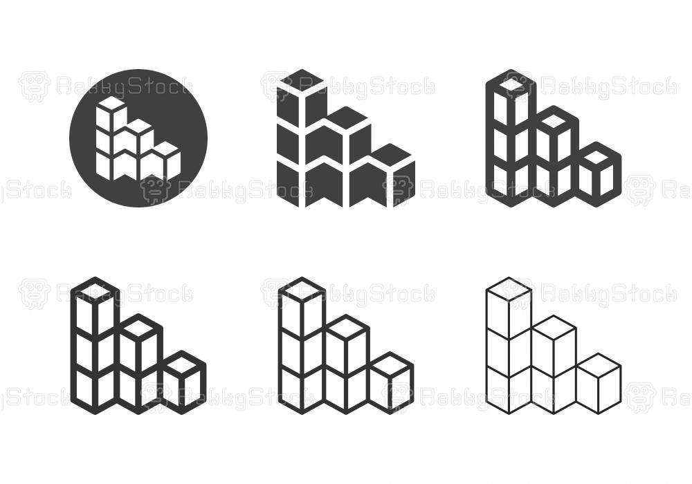 3D Bar Graph Icons - Multi Series
