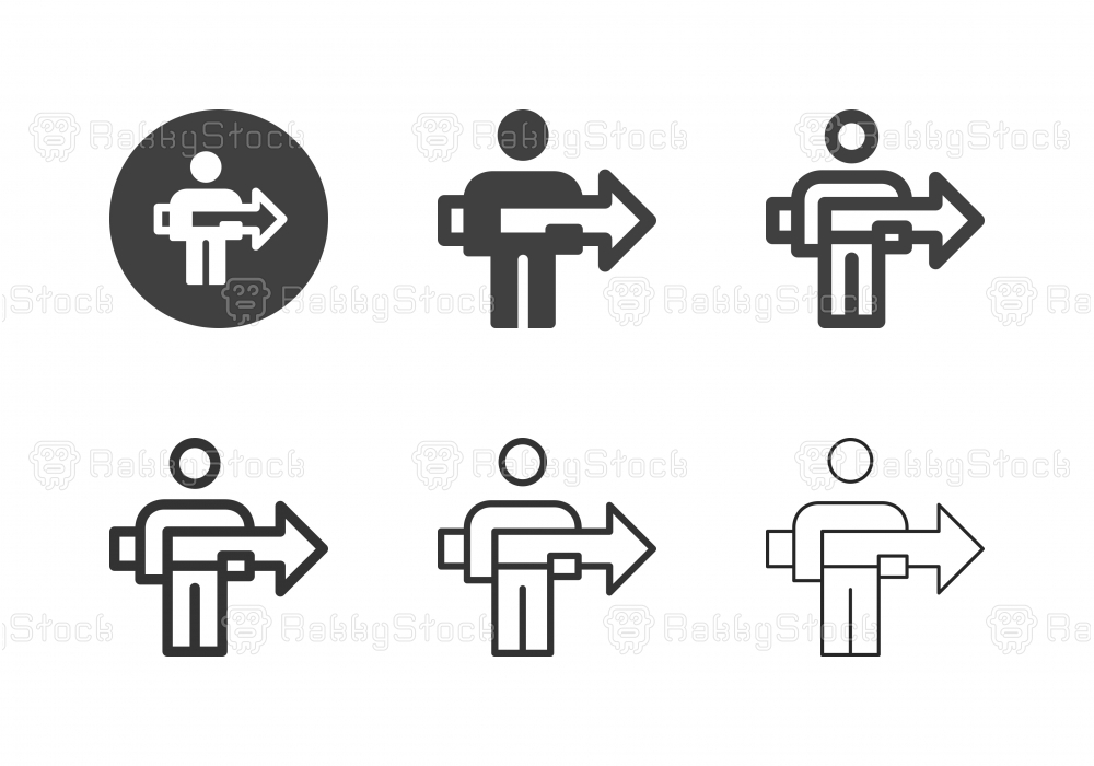 Man Holding Arrow Icons - Multi Series