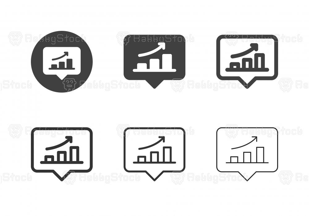 Bar Graph Bubble Icons - Multi Series