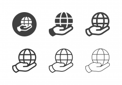 Hand Holding Globe Icons - Multi Series