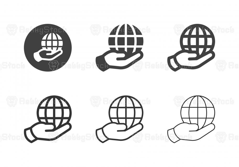 Hand Holding Globe Icons - Multi Series