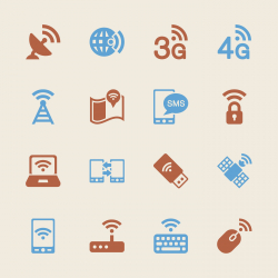 Mobile and Wireless Technology Icons - Color Series | EPS10