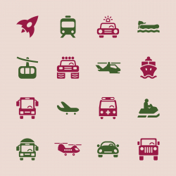 Transportation Icons Set 2 - Color Series | EPS10