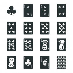 Club Suit Playing Card Silhouette Icons