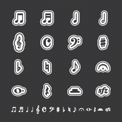 Music Note Icons - White Series | EPS10