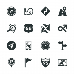 Navigation and Map Silhouette Icons
