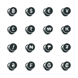 Currency Symbol Silhouette Icons | Set 1