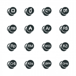 Currency Symbol Silhouette Icons | Set 2