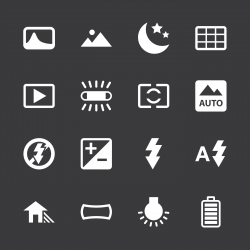 Camera Menu Icons Set 4 - White Series | EPS10