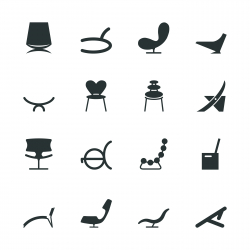 Chair Design Silhouette Icons