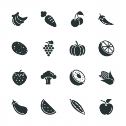 Fruit and Vegetable Silhouette Icons | Set 1