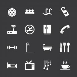Hotel Icons Set 2 - White Series | EPS10