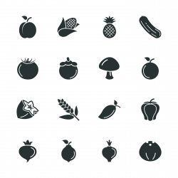 Fruit and Vegetable Silhouette Icons | Set 2