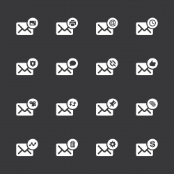 Email Icons Set 2 - White Series | EPS10
