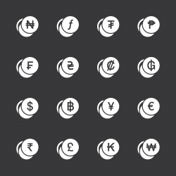 Currency Symbol Icons Set 1 - White Series | EPS10