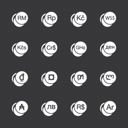 Currency Symbol Icons Set 2 - White Series | EPS10