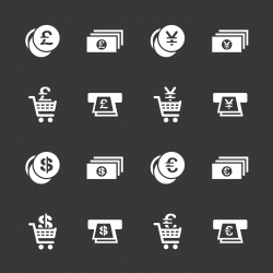 Currency Symbol Icons Set 3 - White Series | EPS10
