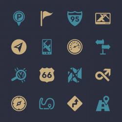 Navigation and Map Icons - Color Series | EPS10