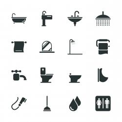 Bath and Bathroom Silhouette Icons