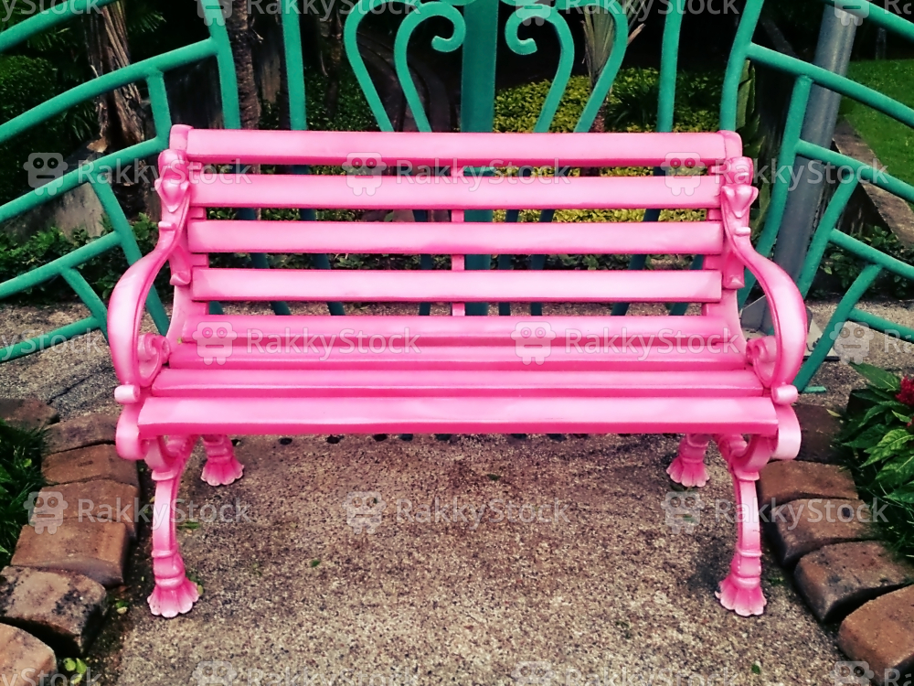 Pink Bench in the garden