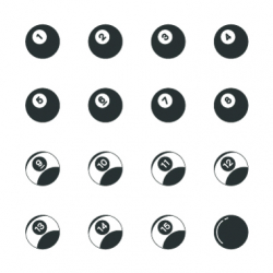 Pool Balls Silhouette Icons