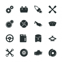 Car Tools Silhouette Icons