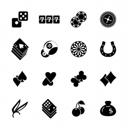 Casino Gambling Silhouette Icons